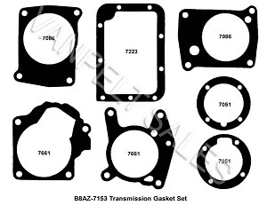B8AZ-7153:  Gasket Set (full set) For 1949-62 Ford Transmissions   (Std or OD)
